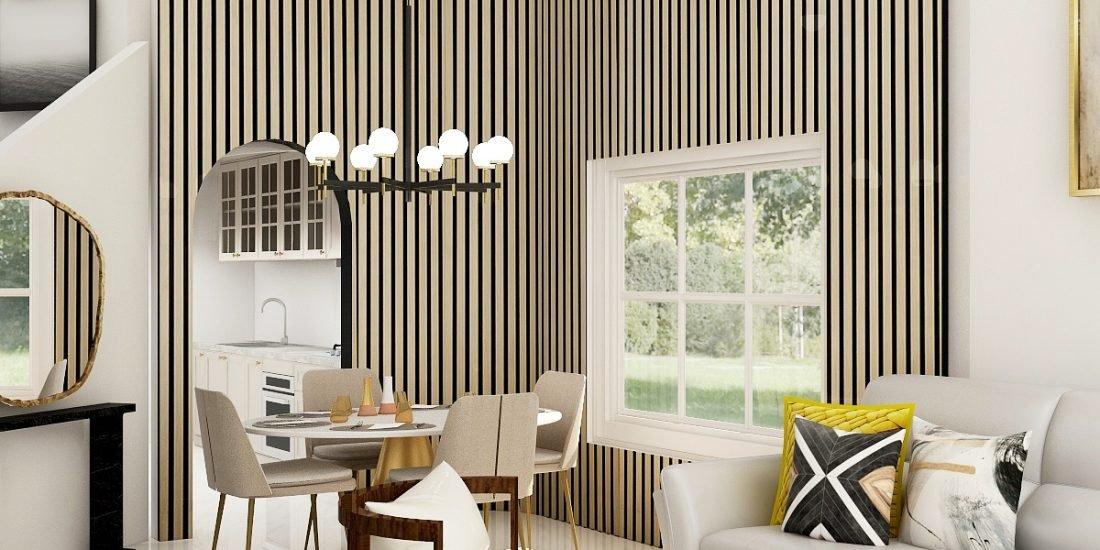 Dining Room Wood Slat Wall